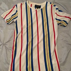 White Multicolor Striped T-Shirt